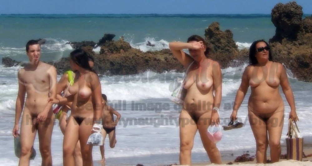 topless Big saggy beach tits