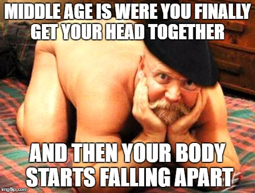 Old man getting head