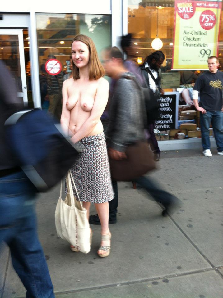 Public casual topless women