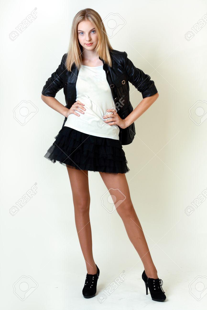 Teen mini skirt models