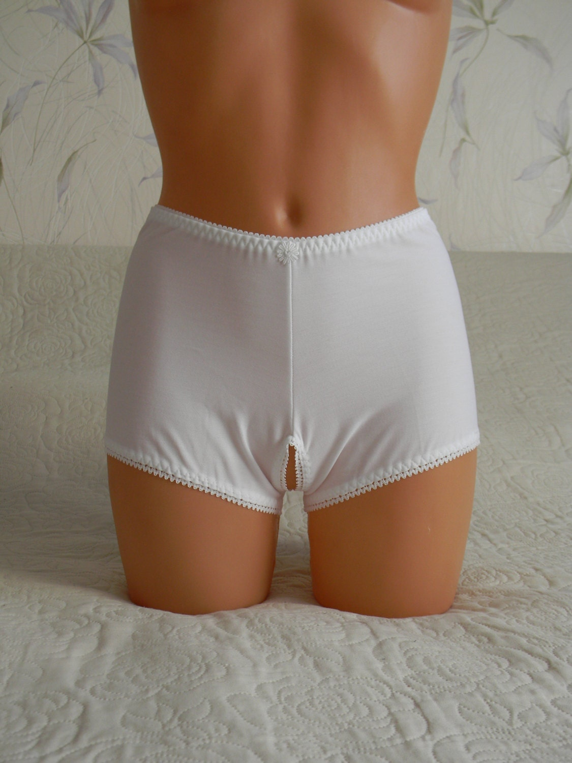 White crotchless panties