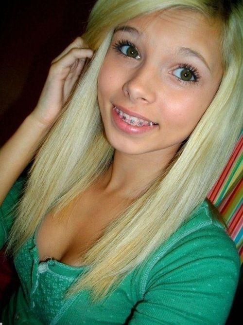 Girls with braces selfie teen