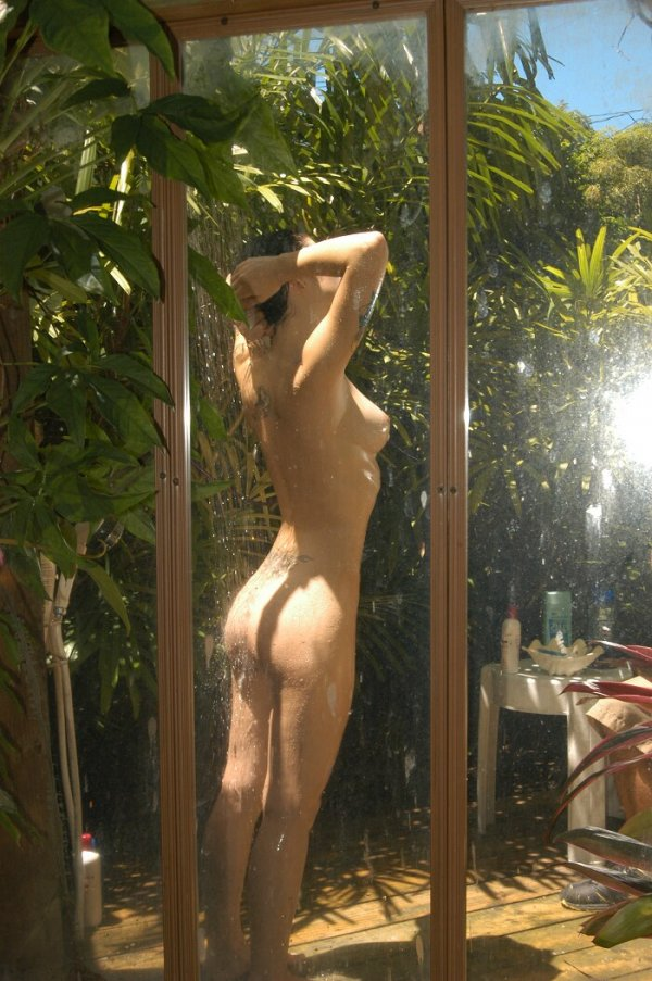nude Naked outdoor shower